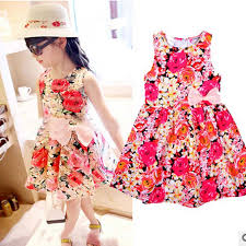 2016 Girls Summer Dress Cute Rose Pattern Bow Design Kids Dresses For Cotton Sleeveless Baby Girl Soft T3 In From Mother