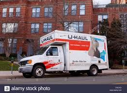 UHaul Moving Truck Parked In Front Of Apartment Building Stock Photo ...