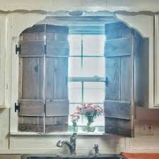 Kitchen Shutters Farmhouse Style Vintage Inspired Wood Diy Cottage Window Faucet Natural Sun Light Flowers In Mason Jar