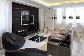 black and white family room with modern light fixtures and ikea