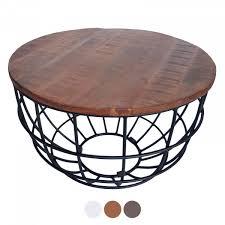 couchtisch wohnzimmer tisch rund beistelltisch ø 55 cm metall drahtgestell gitter massiv