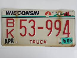 Collectible+Wisconsin+Truck+License+Plate | License Plate Crafting ...