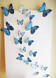 Bedroom Cute Removable D Butterflies Wall Craft Decorations For Butterfly Art Blue Black Big
