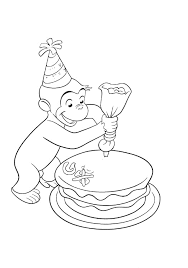 Happy Birthday Curious George Coloring Pages