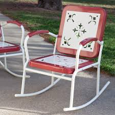 3 Pc Retro Chat Metal Patio Set Table Rocking Chairs Green ...