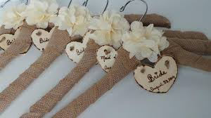 Name Bride Dress Hanger Bridal Party Burlap Hangers Rustic Wedding 5pcs