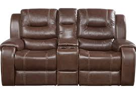 Veneto Brown Leather Reclining Console Loveseat Leather