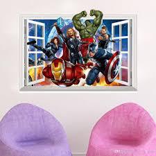 the avengers 3d window effect wall sticker super hero captain