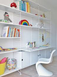Modern And Minimal Wall Shelves For Kids Rooms The String Shelf Wooden Material Metal