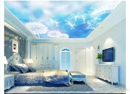großhandel benutzerdefinierte 3d seide zenit wandbild tapete foto dekoration verträumte romantische löwenzahn schlafzimmer wohnzimmer zenit decke