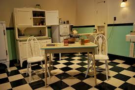 50s Kitchen In Turquoise Black And White