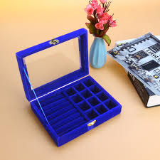 100 Flannel Flower Glass 5 Colors Velvet Jewelry Box Storage Show Case Rings Earings Bracelet Portable Necklace Display Holder Tray Wood Organizer Travel