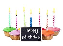 colorful happy birthday cupcakes with candles with pliments