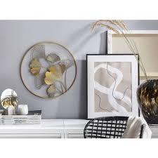 wanddekoration gold metall ø45 cm blättermuster rund kreis modern look wohnzimmer schlafzimmer flur dekoration deko