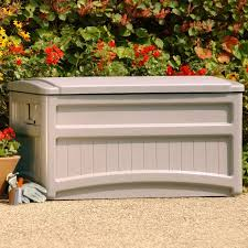 suncast saxon premium 73 gallon light taupe resin deck box with