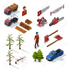 Lumberjack Isometric Color Icons Set Of Woodworking Tools Lumber Trucks Woodcutters In Uniform On White Background