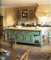 Kitchen Island Distressed Islands Blue Cabinets Well Simple Beatiful Classy Design