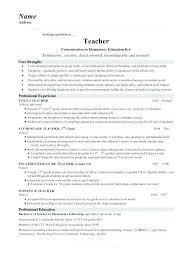 Nursery Teacher Resume Primary School Sample Math
