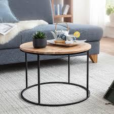 couchtisch 60x43x60 cm akazie massivholz metall sofatisch design wohnzimmertisch rund kaffeetisch massiv kleiner tisch wohnzimmer möbel und