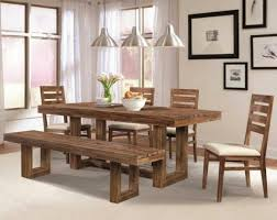 Dining Room Rectangle Table 4 Rustic Chairs With Bench Under Antique Llights Around