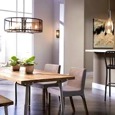 Long Dining Room Light Fixtures Schoolhouse Chandelier Five Lights Bronze Finish Casual