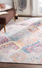 teppich taina in blau hellgrau wohnzimmer bunt teppiche