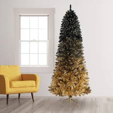Artificial Lit Tree Tall Full Spruce W Metal Stand 3 Pre Christmas