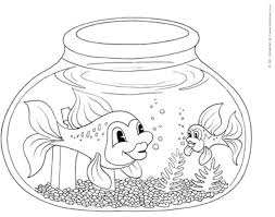 Fantastic Fish Bowl Coloring Page With Fishing Pages And For Adults