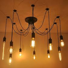 Aistarry Edison Antik Lampu Gantung Beberapa Ajustable Diy Spider Liontin Cahaya Langit Modern