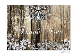 Rustic Wood And Metal Folded Thank You Card