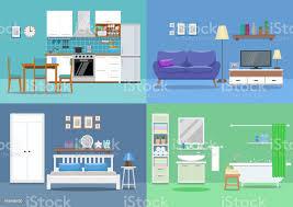 haus interieur küche wohnzimmer schlafzimmer badezimmer flachen stil vektorillustrationdesignvorlage stock vektor und mehr bilder bauwerk
