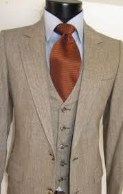 Exquisite Vintage Tweed Ysl Yves Saint Laurent 3 Piece Men Suit 36 R