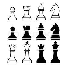 Chess Pieces Including King Queen Rook Pawn Knight And Bishop Vector Illustration Icons Set