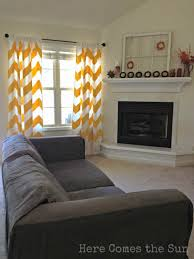 wall decor orange and white chevron curtains matched with white