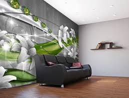fototapete abstrakt diamant lilie grün fototapeten tapete wandbild weiß blumen grau m1519