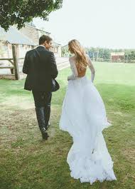 Long Sleeves Backless Lace Rustic Wedding Dresses Full Size