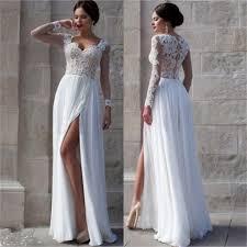 white side slit elegant long sleeves lace cheap wedding party long