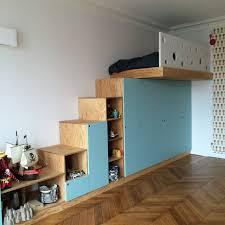 chambre mezzanine enfant 245m2 rénovés à mezzanine sur mesure contemporain