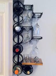 Wall Mounted Metal Wine Racks With Small Wood Shelves And Glass