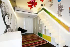 Beautiful Accent Wall Color Scheme Of Kids Room Design With Cute Minimalist Bedroom Loft Beds Which Has Stairs Built In Toy Storage Cabinets