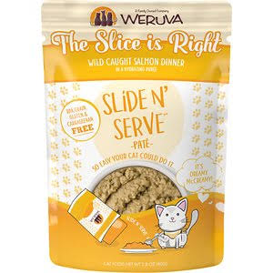 Weruva Slide N' Serve Grain Free The Slice Is Right Wild Caught Salmon Dinner Wet Cat Food Pouch - 2.8 oz, Case of 12