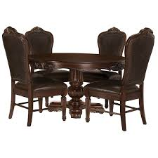 Regal Dark Tone Leather Table 4 Chairs