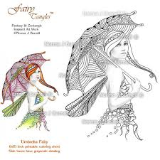 Fairy Tangles Printable Coloring Book Pages Grayscale Sheets By Norma J Burnell Dragonfly Adult
