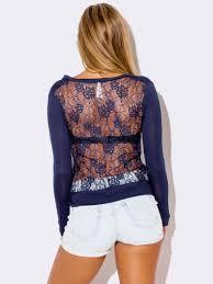 navy blue lace back cardigan sweater modishonline com