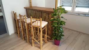 5tlg bambus bar mit 4 hocker theke tresen