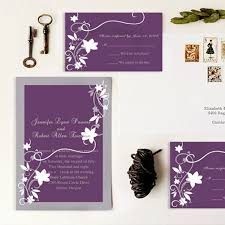 Rustic White Floral Purple Wedding Invitations