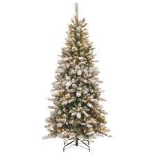75 Slim Flocked Christmas Tree by National Tree Company 7 5 Ft Snowy Mountain Pine Slim Pine