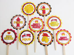 100 Fire Truck Cupcake Toppers Man Personalized 24 Pc Kaleidoscope Parties