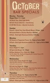 October Daily Bar Specials at Tavola