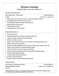 Resume Example For Cashier Sample